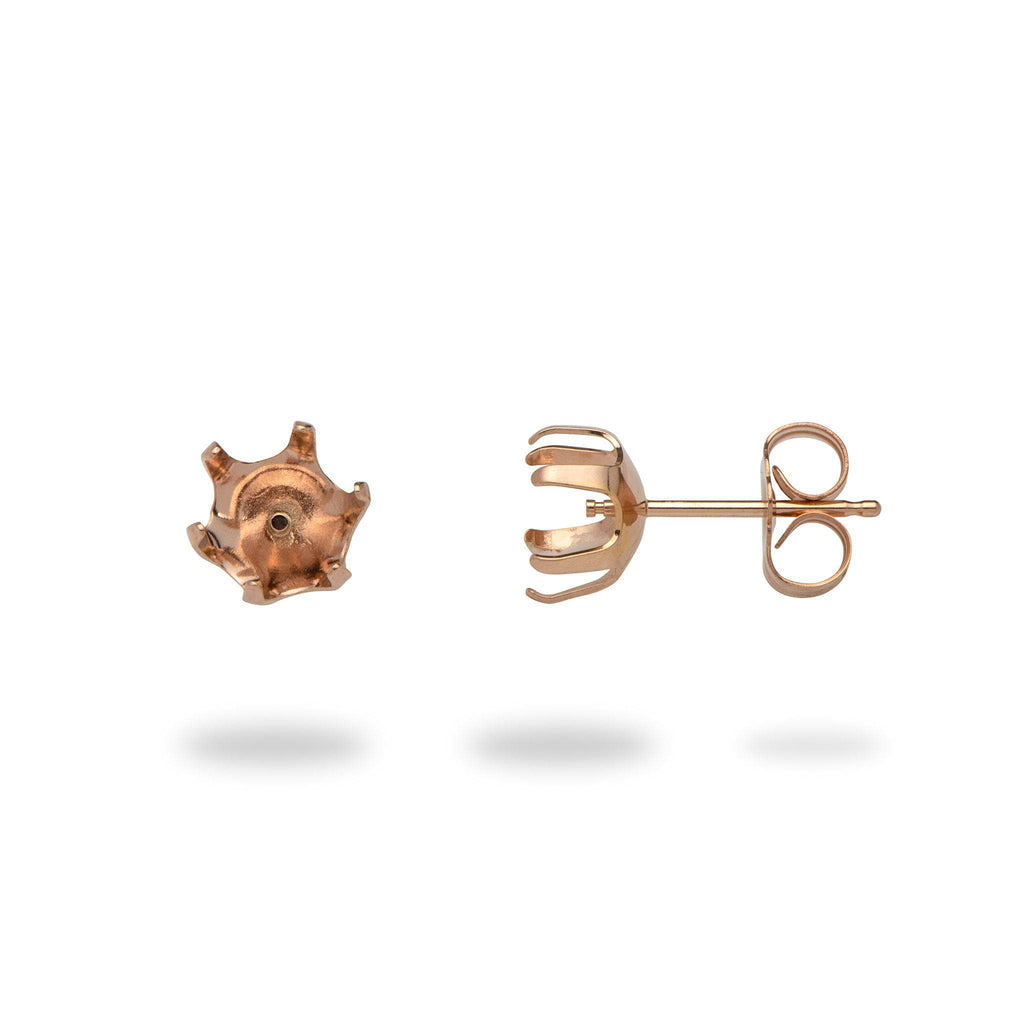 Six-prong Earring Mountings in 14K Rose Gold