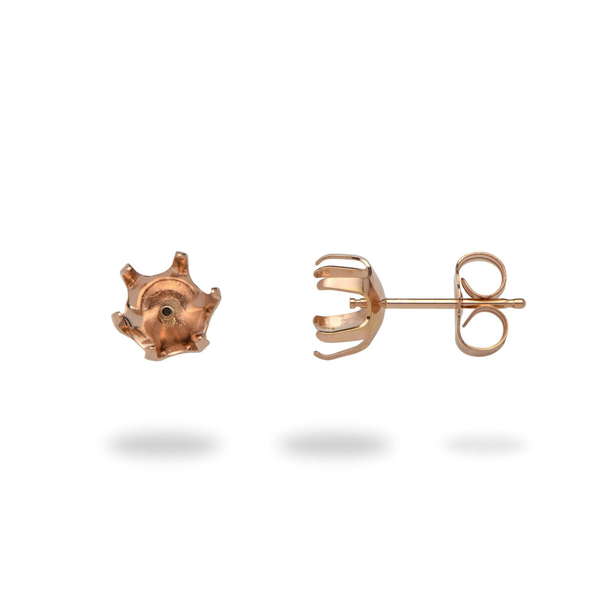 Six-prong Earring Mountings in 14K Rose Gold-[SKU]