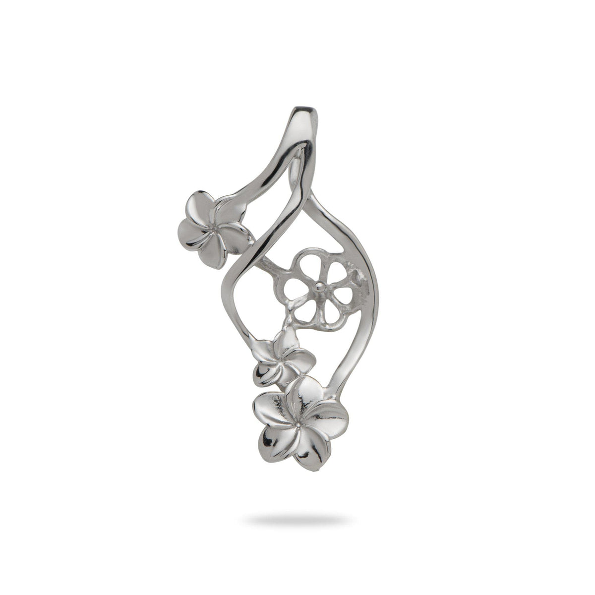 Plumeria Swirl Pendant Mounting in 14K White Gold-[SKU]