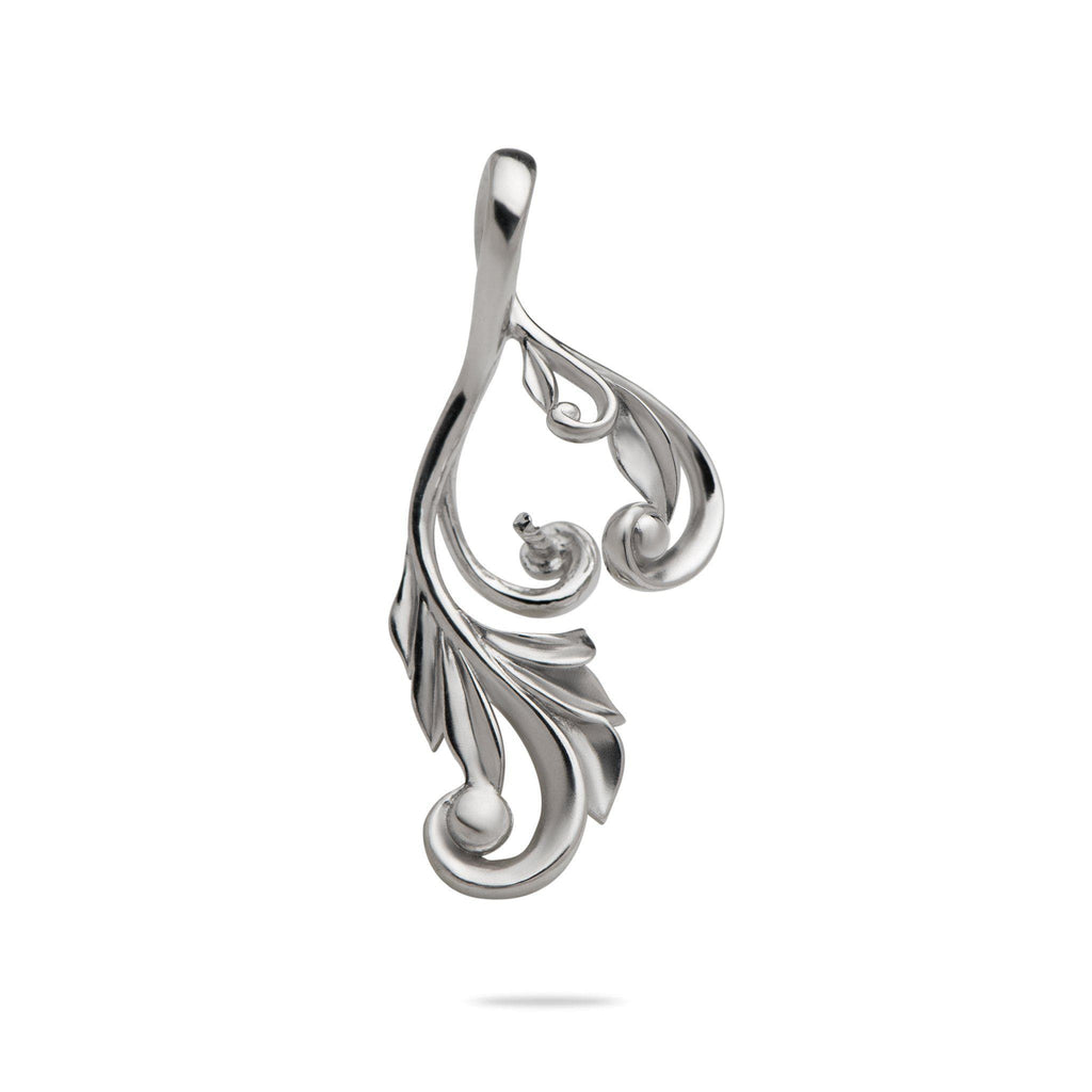 Maile Scroll Pendant Mounting in 14K White Gold - Maui Divers Jewelry