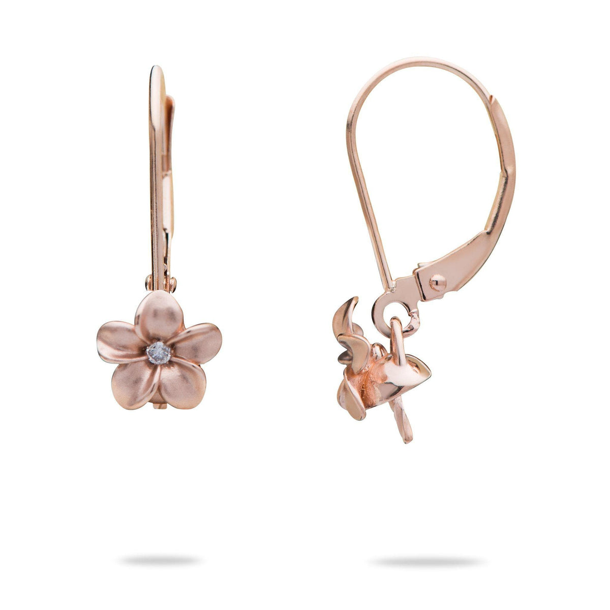 Plumeria Earring Mountings in 14K Rose Gold - Maui Divers Jewelry