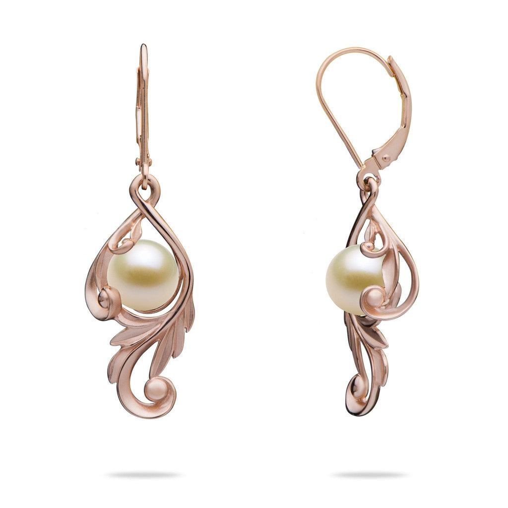 Maile Scroll Earring Mountings in 14k Rose Gold - Maui Divers Jewelry