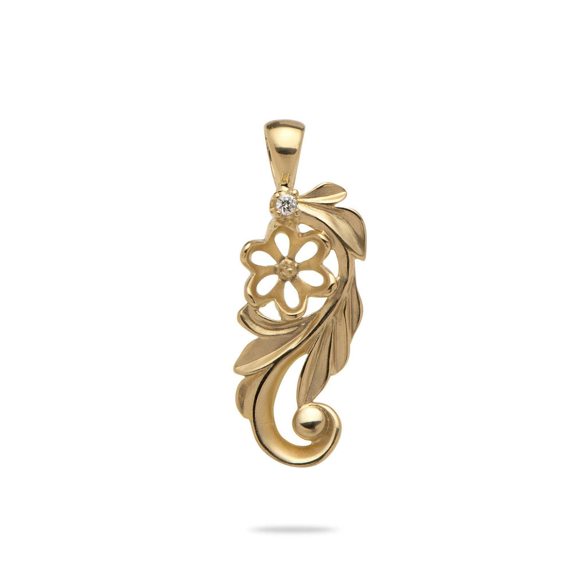 Maile Leaf Scroll Pendant Mounting with Diamond in 14K Yellow Gold - Maui Divers Jewelry