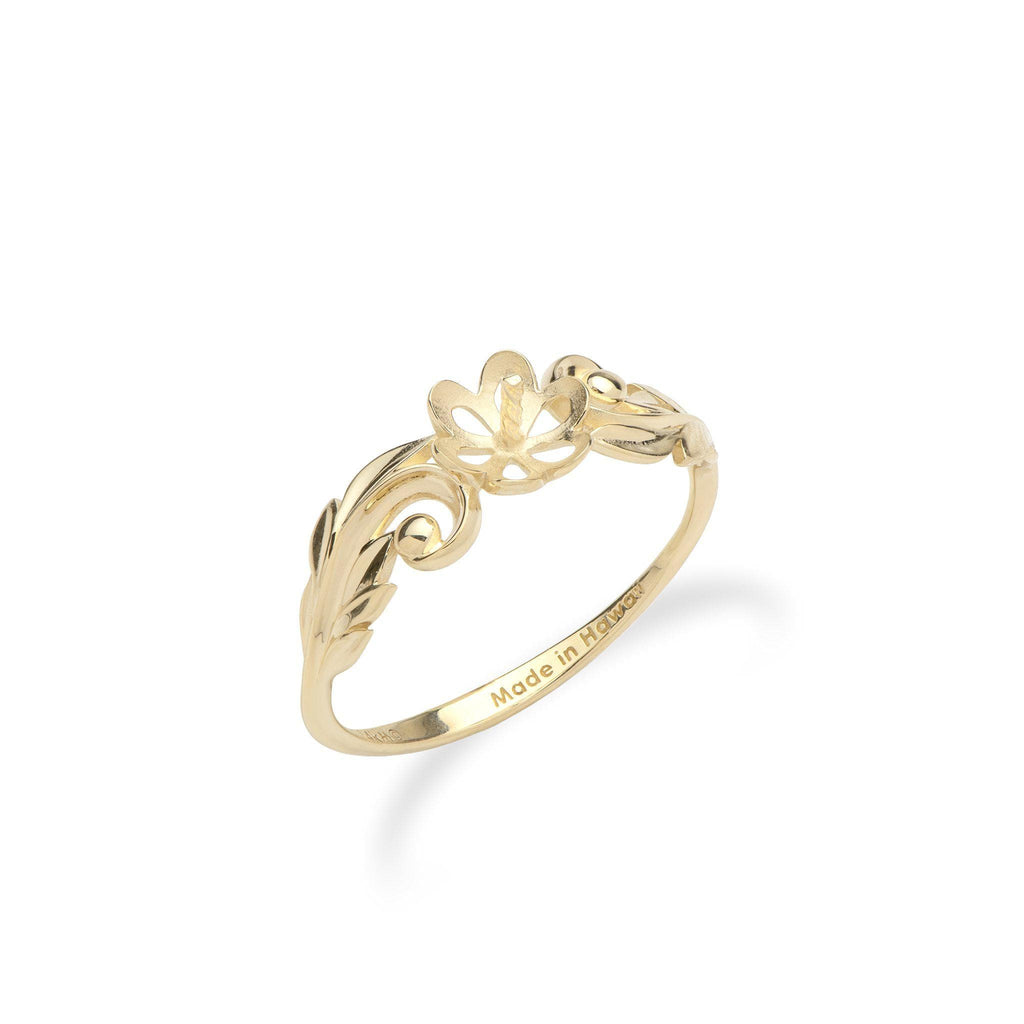 Maile Scroll Ring Mounting in 14K Yellow Gold