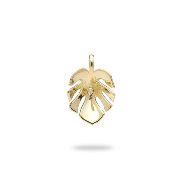 Monstera Leaf Pendant Mounting in 14K Yellow Gold - Maui Divers Jewelry