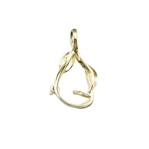 Three Leaves Pendant Mounting in 14K Yellow Gold-[SKU]