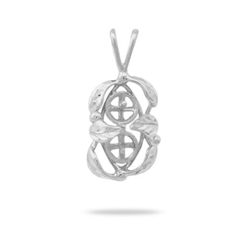 Maile Leaf Pendant Mounting in 14K White Gold - Maui Divers Jewelry