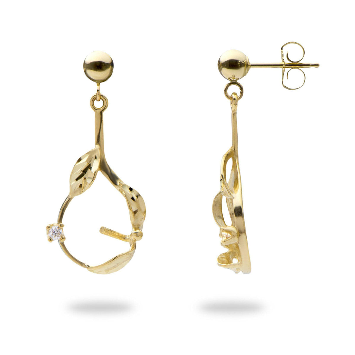 Maile Leaves Earrings Mounting with Diamonds in 14K Yellow Gold-[SKU]