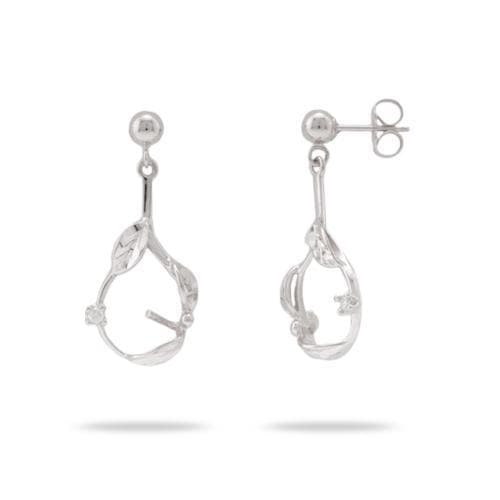 Maile Earring Mountings with Diamonds in 14K White Gold 076-06044
