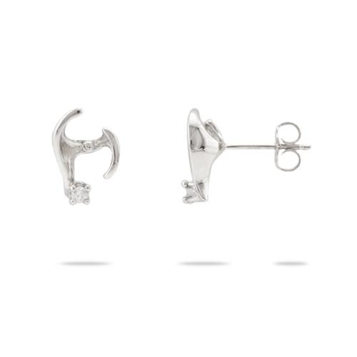 Pick-a-Pearl Caressing Hands Earrings in White Gold with Diamonds