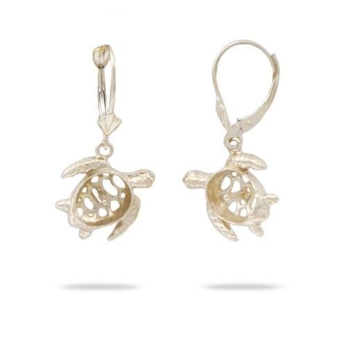 Honu (Turtle) Earring Mountings in 14K Yellow Gold - Maui Divers Jewelry