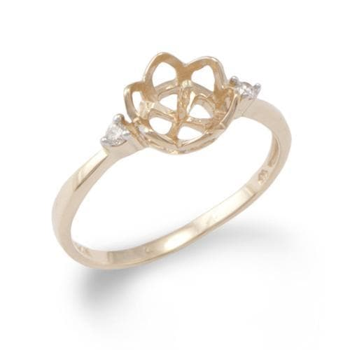 Crown Ring Mounting with Diamonds in the 14K Yellow Gold