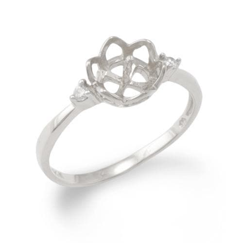 Crown Ring Mounting with Diamonds in 14K White Gold 076-06067