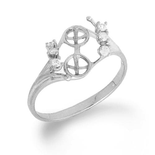 Eight Island Ring Mounting with Diamonds in 14K White Gold