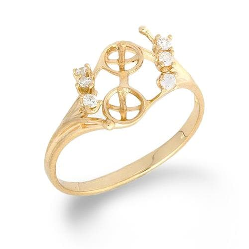Eight Islands Ring Mounting with Diamonds in 14K Yellow Gold - Maui Divers Jewelry