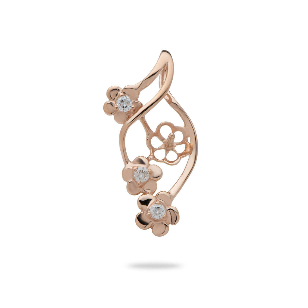 Triple Flower Pendant Mounting with Diamonds in 14K Rose Gold - Maui Divers Jewelry