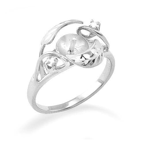 Maile Leaves Ring Mounting with Diamond in 14K White Gold - Maui Divers Jewelry