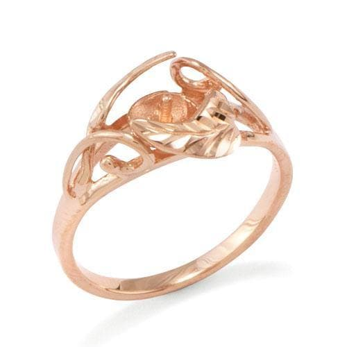 Maile Ring Mounting in 14K Rose Gold -SIZE 9 - Maui Divers Jewelry