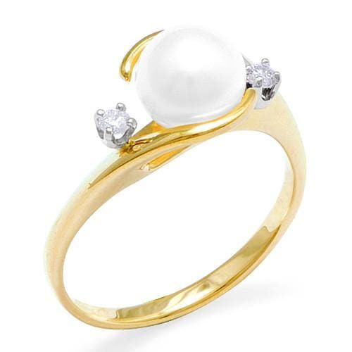 Pick a Pearl Ring with Diamonds in 14K Yellow Gold 076-00012 White