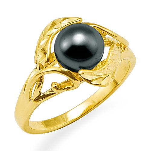 Maile Pick a Pearl Ring in 14K Yellow Gold 076-00084 Black