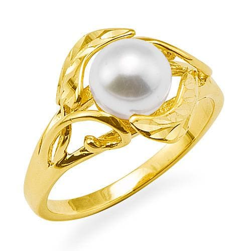 Maile Pick a Pearl Ring in 14K Yellow Gold 076-00084 White