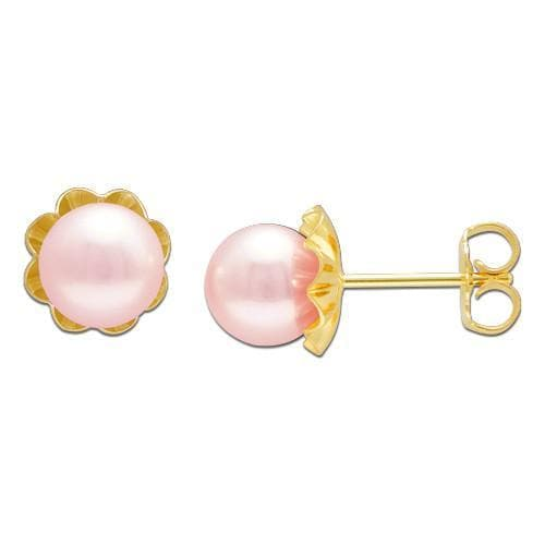 Pick a Pearl Earring in 14K Yellow Gold 076-00118 Pink