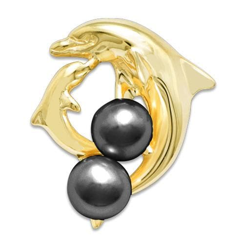 Dolphin Pick A Pearl Pendant in 14K Yellow Gold 076-00157 Black