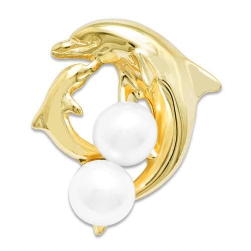 Dolphin Pick A Pearl Pendant in 14K Yellow Gold 076-00157 Cream