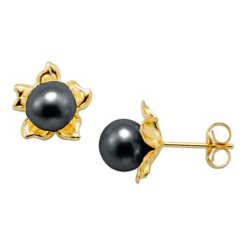 Flower Pick a Pearl Earring in 14K Yellow Gold 076-00164 Black