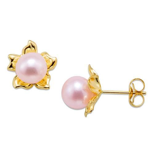 Flower Pick a Pearl Earring in 14K Yellow Gold 076-00164 Pink