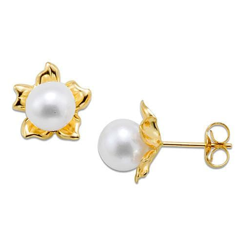 Flower Pick a Pearl Earring in 14K Yellow Gold 076-00164 Cream