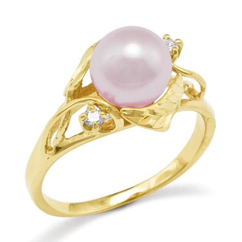 Maile Pick a Pearl Ring with Diamonds in 14K Yellow Gold 076-00193