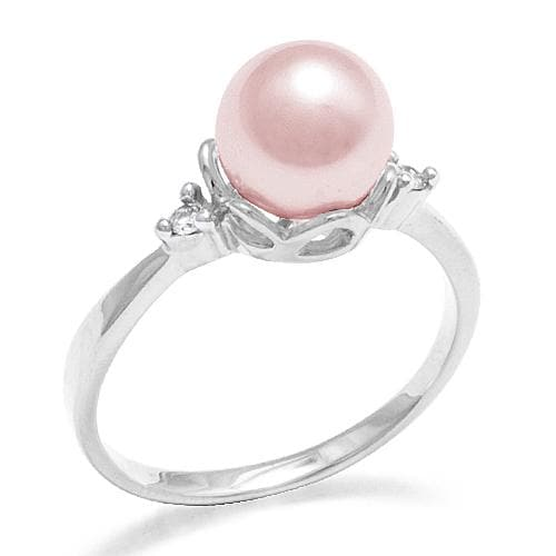 Pick-a-Pearl Crown Ring in White Gold with Diamonds-[SKU]
