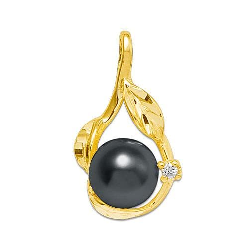 Pick A Pearl Pendant with Diamonds in 14K Yellow Gold 076-06001 Black