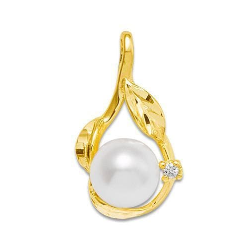 Pick A Pearl Pendant with Diamonds in 14K Yellow Gold 076-06001 White