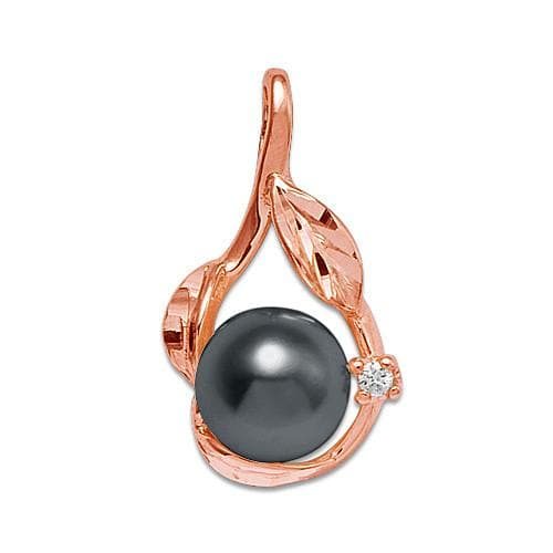 Maile Pick A Pearl Pendant with Diamonds in 14K Rose Gold 076-06003 Black