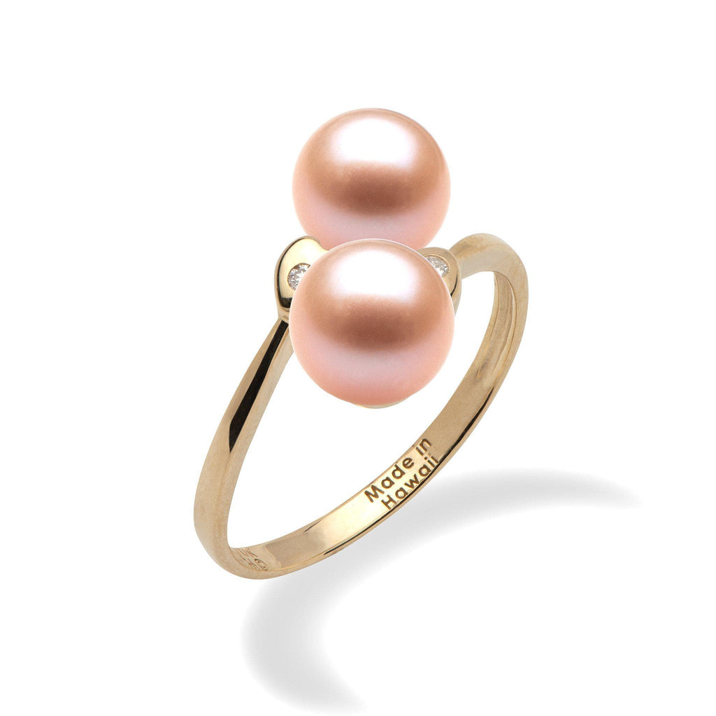 Pick-a-Pearl Double Heart Ring in Gold with Diamonds - Maui Divers Jewelry
