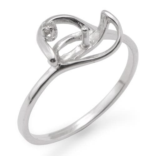 Ring Mounting with Diamond in 10K White Gold-[SKU]