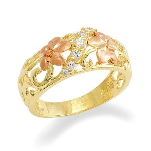 Plumeria Ring in 14K Two-Tone Gold