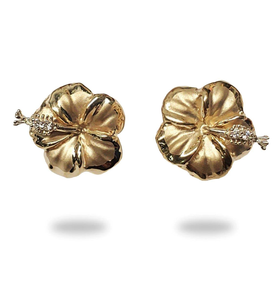 Hibiscus Flower Earrings with Diamonds in 14K Yellow Gold