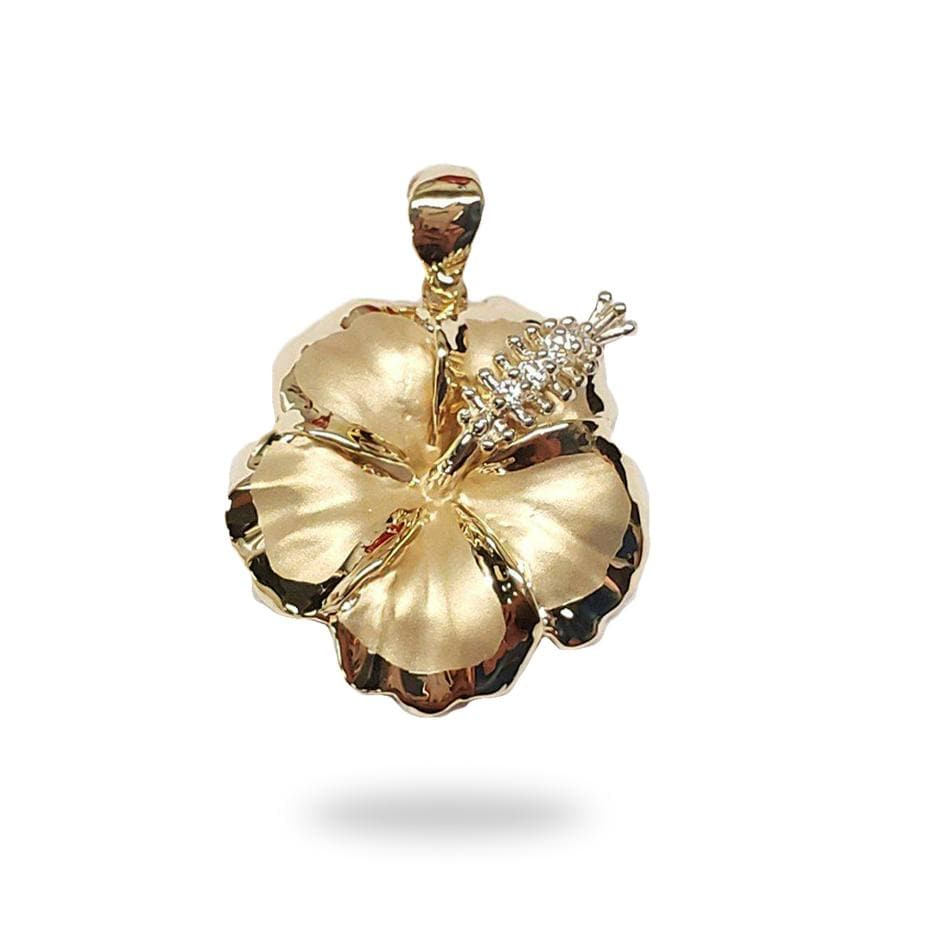 Hibiscus Flower Pendant with Diamonds in 14K Yellow Gold (17mm)