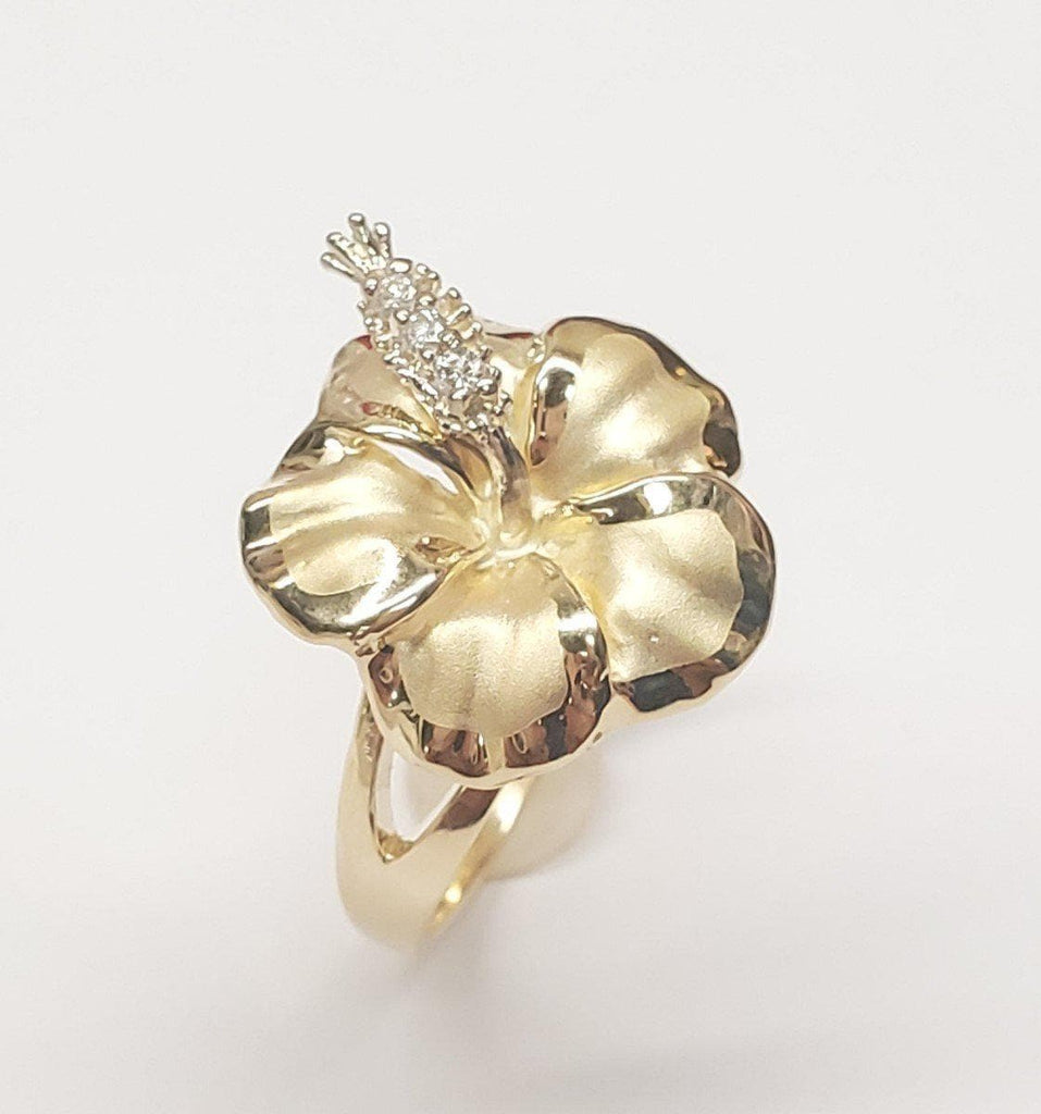 Hibiscus Flower Ring with Diamonds in 14K Yellow Gold