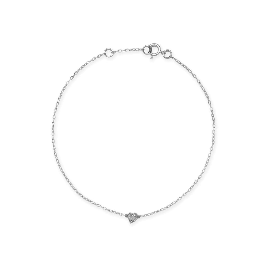Diamond Pave Heart Bracelet in 14K White Gold