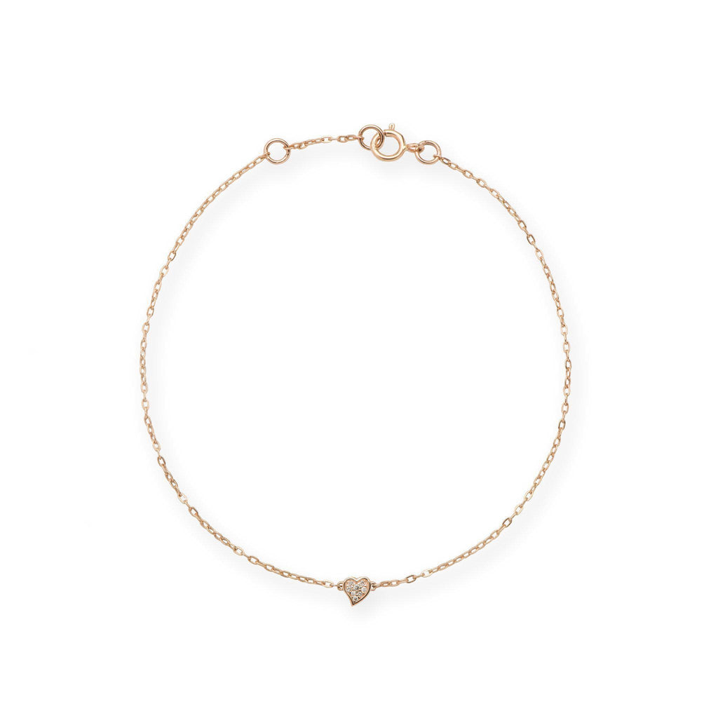 Diamond Pave Heart Bracelet in 14K Rose Gold-[SKU]