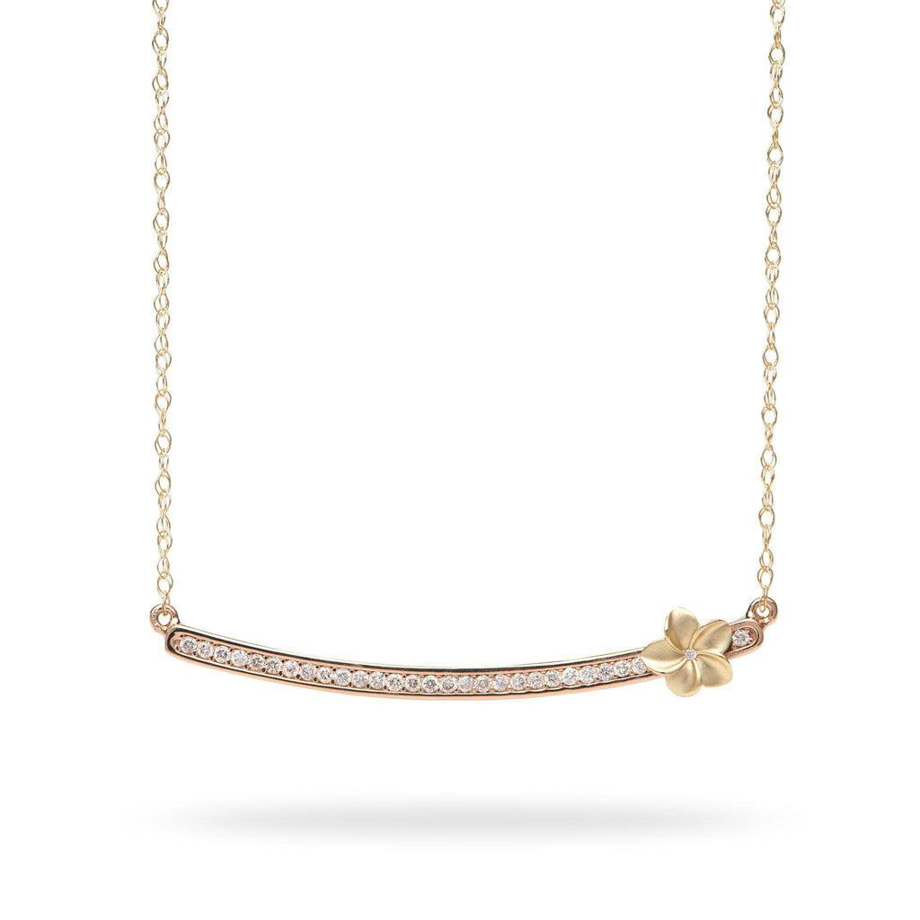 Plumeria Bar Necklace in 14K Two-Tone Gold Diamonds 088-01191
