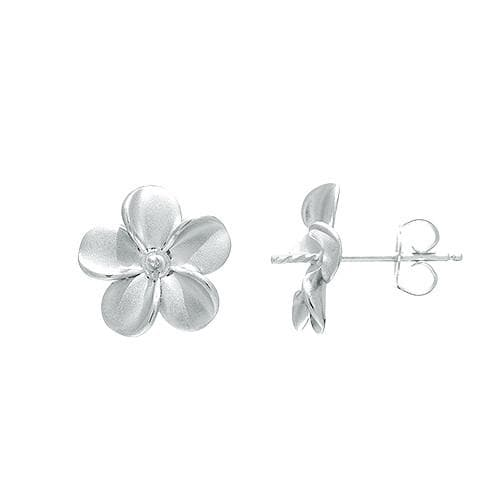 Plumeria (13mm) Earring Mountings in Sterling Silver-[SKU]