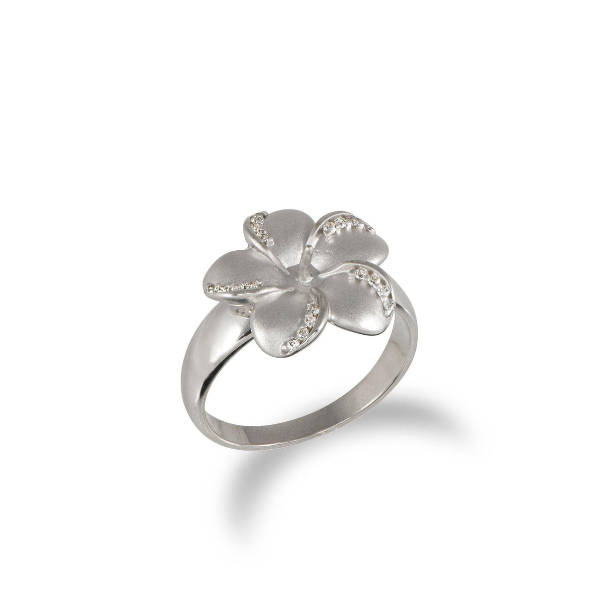 Plumeria Ring in Sterling Silver with CZs-[SKU]