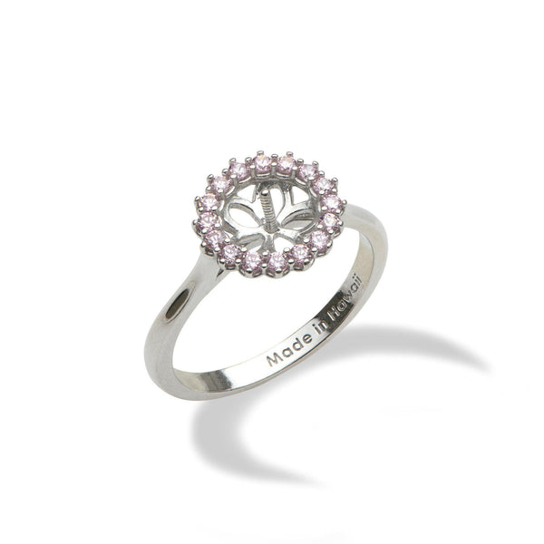 Pick-a-Pearl Halo Ring in Sterling Silver with Pink Cubic Zirconia-[SKU]