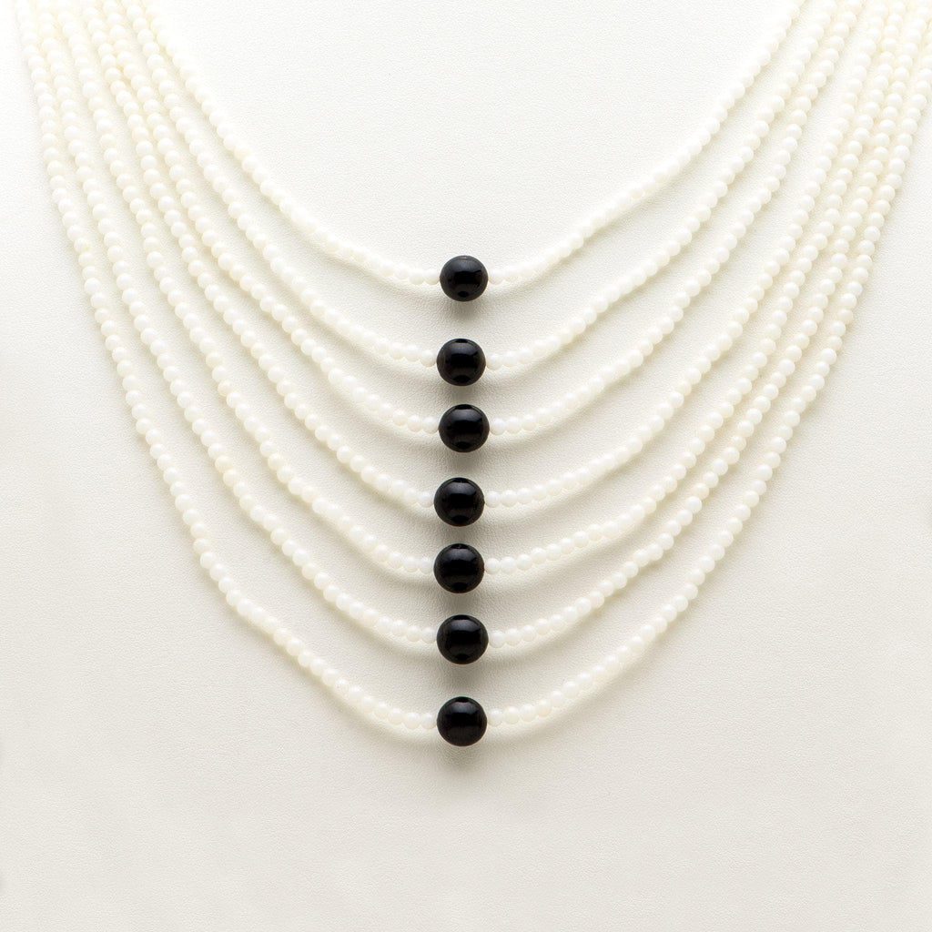 Adjustable Black Coral Bead and White Coral Necklace in Sterling Silver - Maui Divers Jewelry