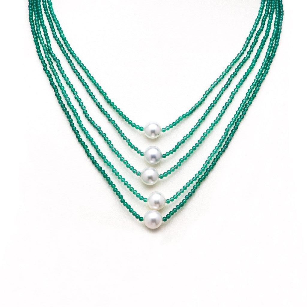 Adjustable South Sea White Pearl and Green Onyx Necklace in Sterling Silver - Maui Divers Jewelry